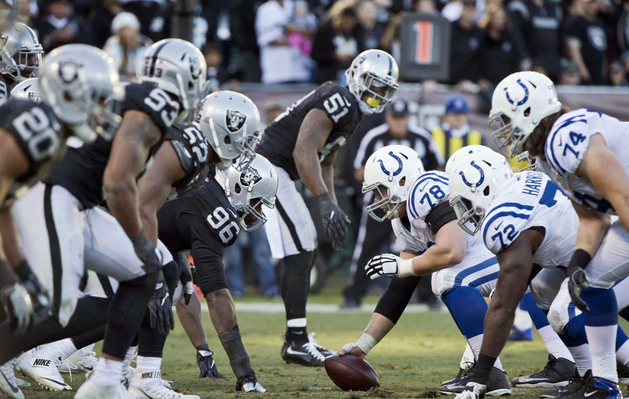 Center Ryan Kelly #78 of the Indianapolis Colts prepares to snap the ball against the Oakland Raiders in the fourth quarter on December 24, 2016 at Oakland-Alameda County Coliseum in Oakland, California.  The Raiders won 33-25.  (Getty Images)