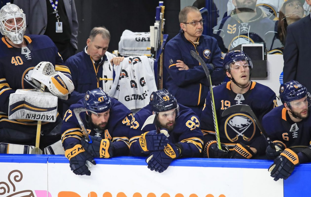 Robin Lehner, far left, and his Buffalo Sabres teammates look on with frustration in what's been a disappointing season. (Harry Scull Jr./ Buffalo News)