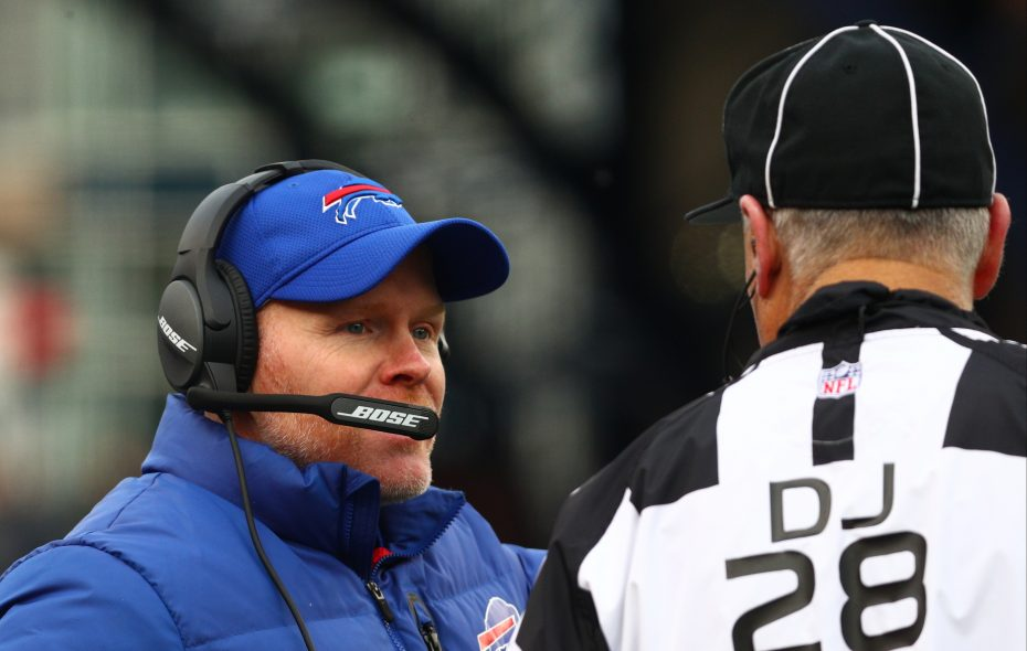 Bills coach Sean McDermott had plenty to complain about to the officials Sunday against the New England Patriots. (James P. McCoy/Buffalo News)