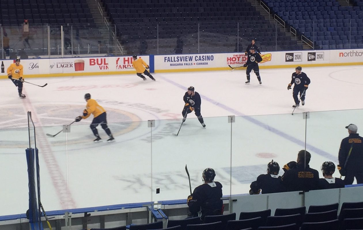 The Sabres work on 3-on-3 strategies at practice Sunday in KeyBank Center (Mike Harrington/Buffalo News).