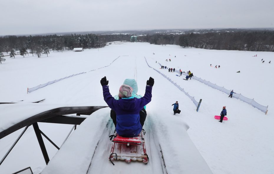 As the snow fell in December, it opened the door for the tobogganing chutes to open at Chestnut Ridge Park.  (Sharon Cantillon/Buffalo News)