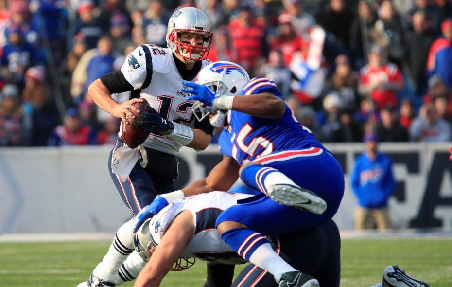 New England Patriots quarterback Tom Brady scrambles against the Buffalo Bills during first quarter action at New Era Field on Sunday, Dec. 3, 2017. (Harry Scull Jr./ Buffalo News)