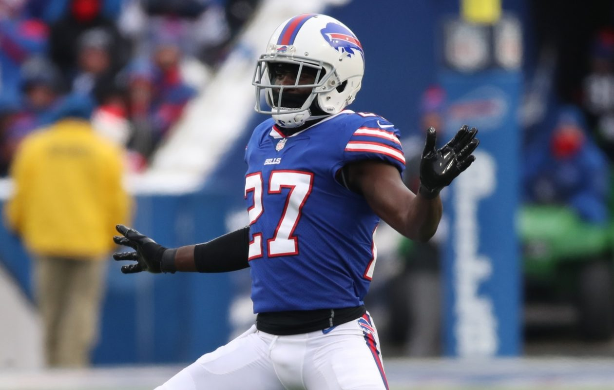 Buffalo Bills cornerback Tre'Davious White (27) dances during a time out in the third quarter at New Era Field. (James P. McCoy/Buffalo News)