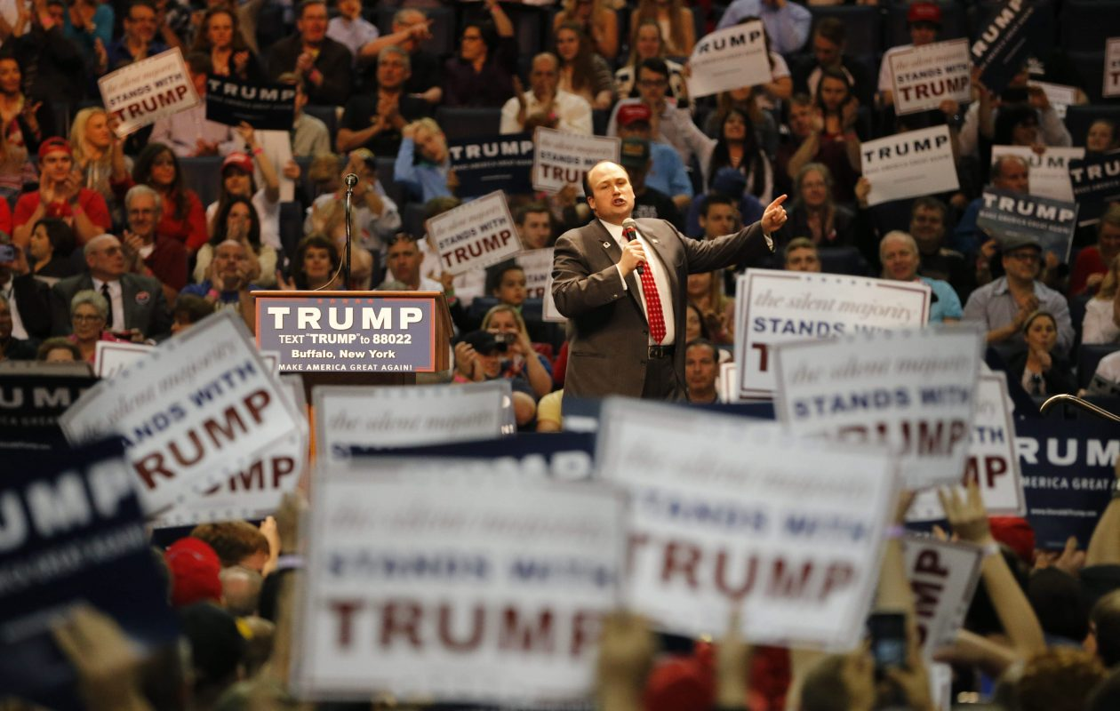 Erie County GOP chairman Nick Langworthy, an early supporter of Donald Trump's candidacy, speaks during a rally at then-First Niagara Center the night before the New York Republican primary on April 18, 2016.  (Derek Gee/Buffalo News)
