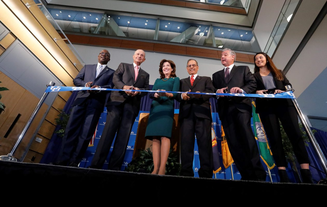 Lt. Gov. Kathy Hochul (and her arm brace) cuts the ribbon at the opening of the new University at Buffalo Jacobs School of Medicine and Biomedical Sciences on  Dec. 12. (Derek Gee/News file photo)