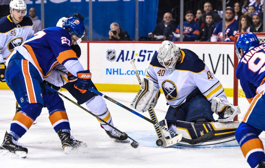 Goaltender Robin Lehner was a busy man during the early going Wednesday night and kept the Sabres in the game. (USA Today Sports)