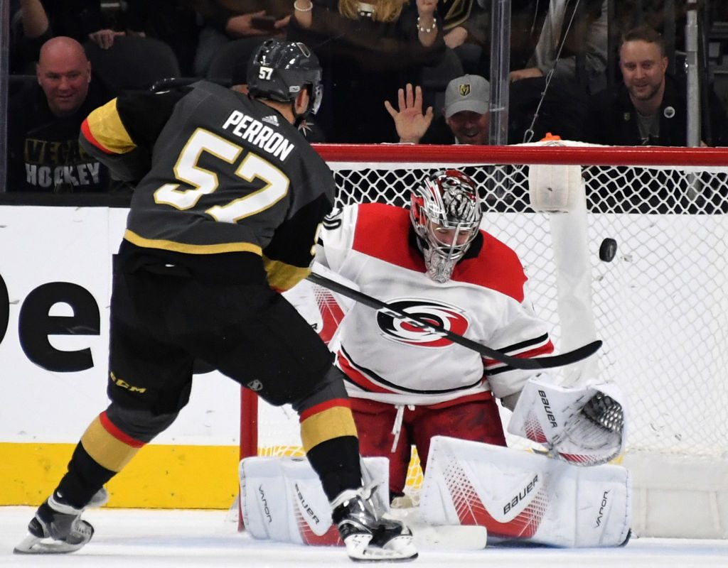 Carolina goalie Cam Ward stopped Vegas' David Perron in a shootout as part of the Hurricanes' win Dec. 12 over the Golden Knights in T-Mobile Arena. (Getty Images).