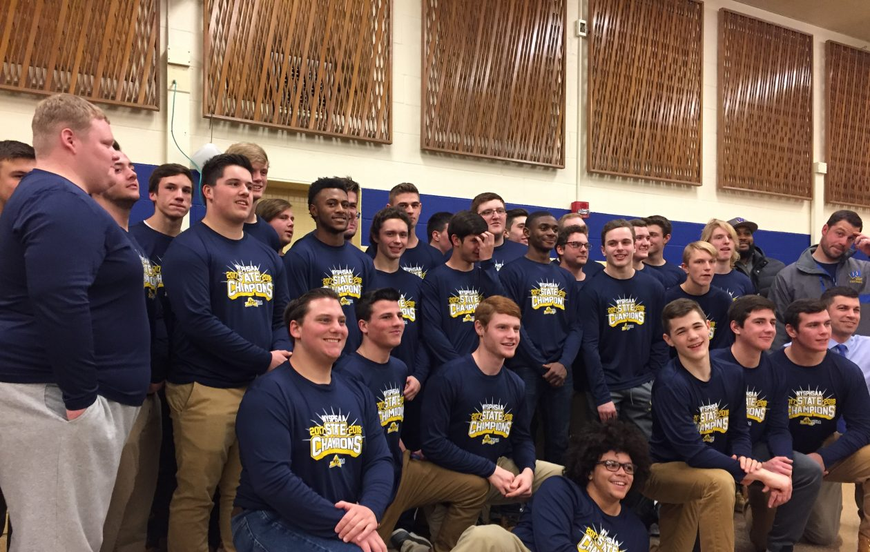 Members of the West Seneca West state championship football team are recognized by the School Board Monday night. (Barbara O'Brien/Buffalo News)