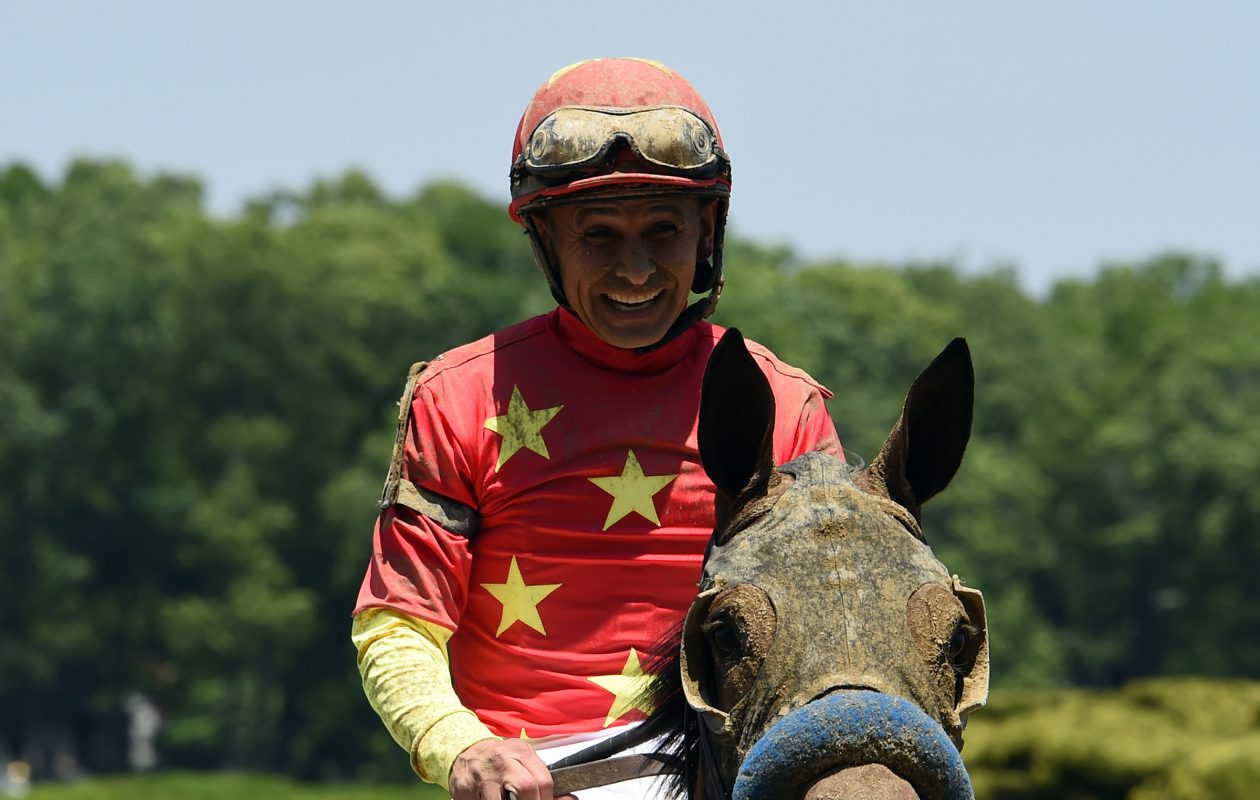 Mike Smith aboard Abel Tasman in the Acorn, was one of his five victories on Belmont Stakes Day. Photo Credit: Susie Raisher/NYRA