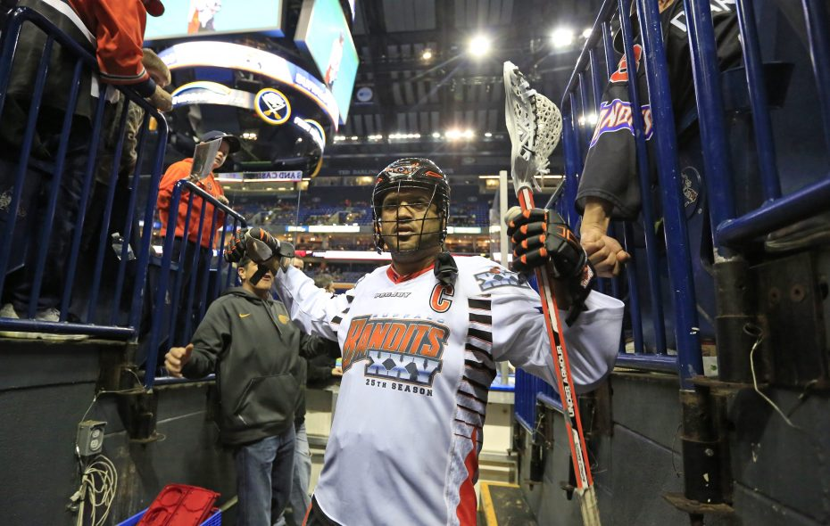 Former Bandit Billy Dee Smith prior to playing the Rochester Knighthawks on Saturday, April 9, 2016. (Harry Scull Jr./News file photo)