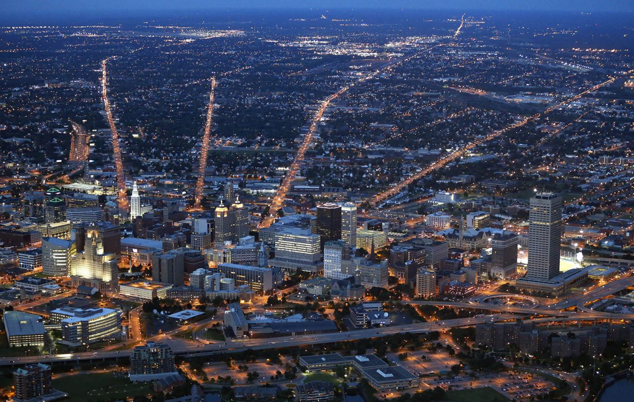 From left, Genesee, Broadway, Sycamore and William emanate from the Buffalo skyline at twilight in 2014. (Derek Gee/News file photo)