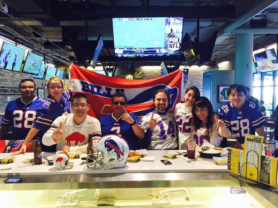 Bills fans in Mexico pose while watching a game  (Courtesy of Dietmar Prinz)
