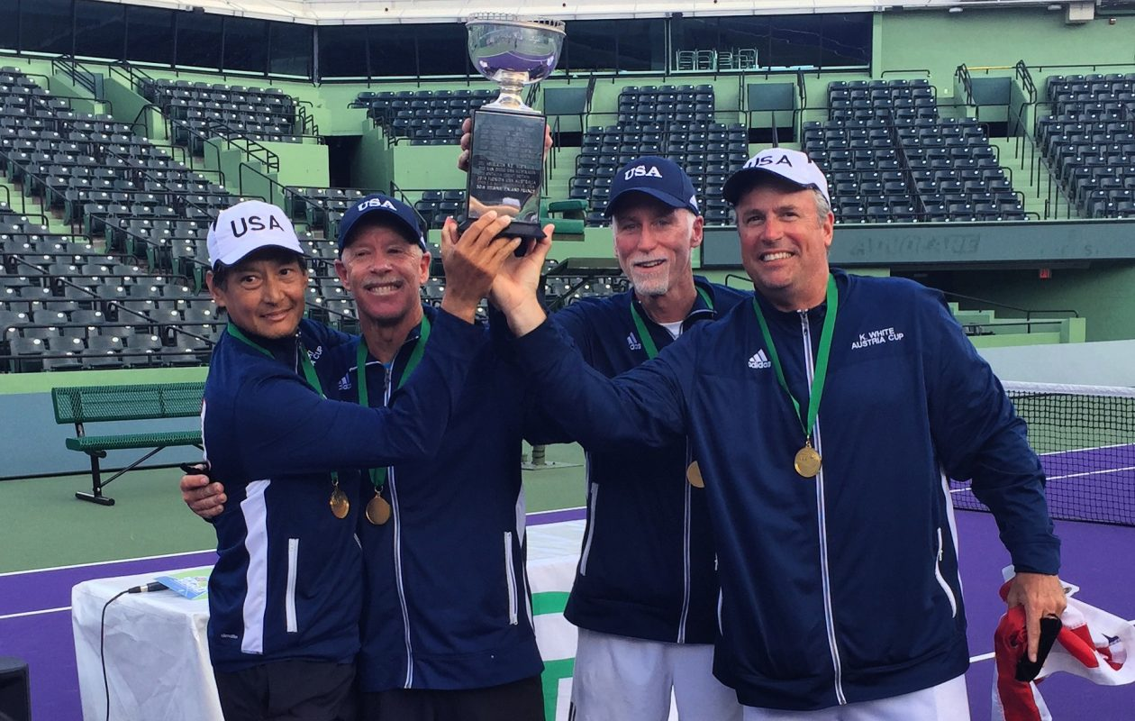 Ken White, right, of Elma won the World Team 55 & Over Men's Seniors Tennis Championships with teammates Mike Tammen, Bill Moss and Stuart Siaki. (Photo courtesy of Ken White)