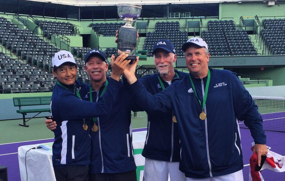 Ken White, right, of Elma won the World Team 55 & Over Men's Seniors Tennis Championships with teammates Mike Tammen, Bill Moss and Stuart Siaki. (Photo courtesy of Ken White)