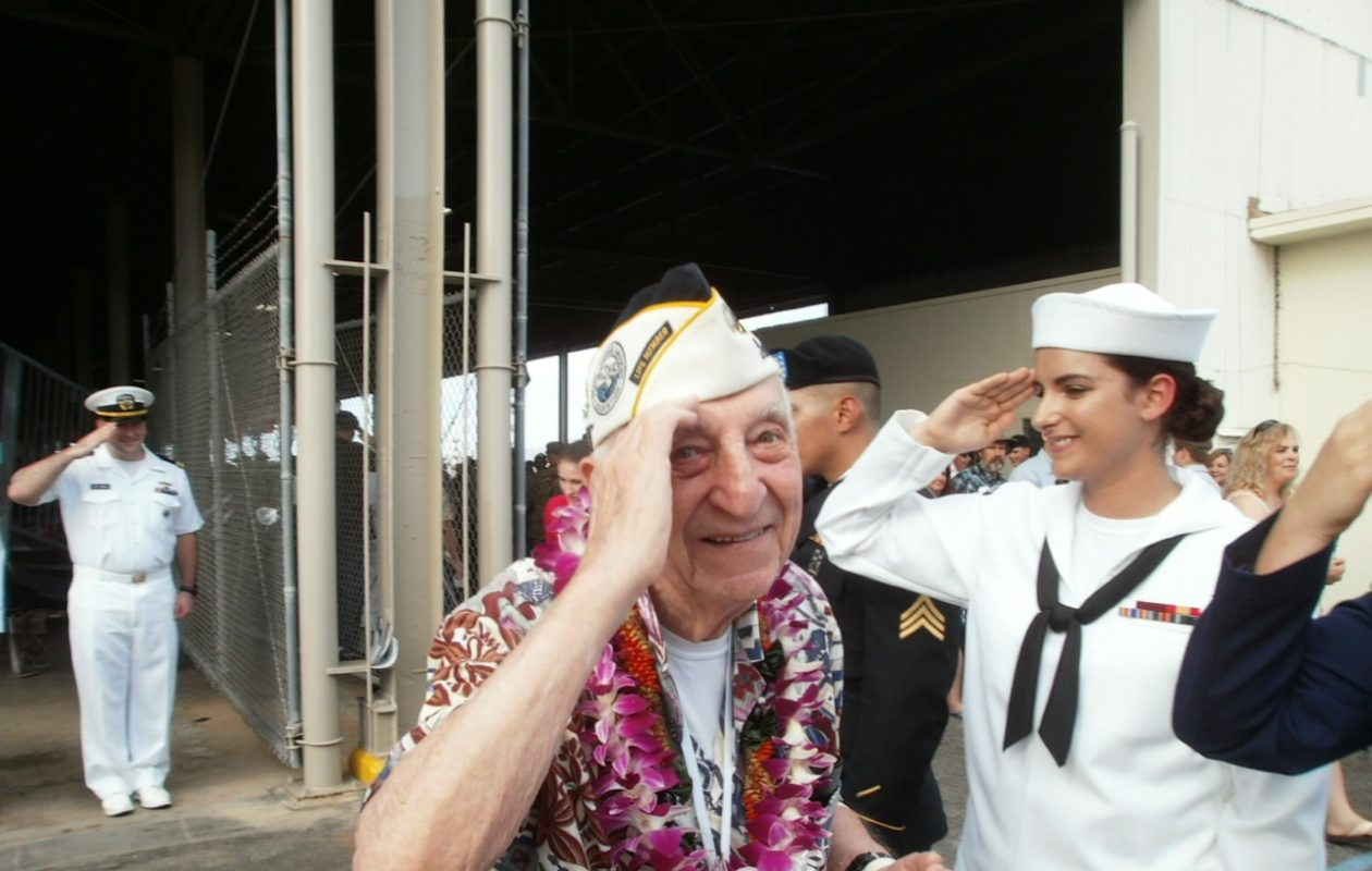 Ed Stone, a Pearl Harbor survivor who enlisted in Buffalo, at last year's remembrance ceremonies in Hawaii, 75 years after the Japanese attack. (Photo courtesy of David Stone)