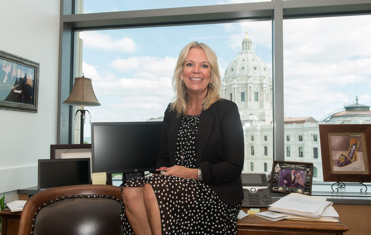 Karin Housley poses for a photo in her office in the Minnesota Senate Office Building in St. Paul, Minn., on July 24, 2017. (Angela Jimenez/Special to The News)