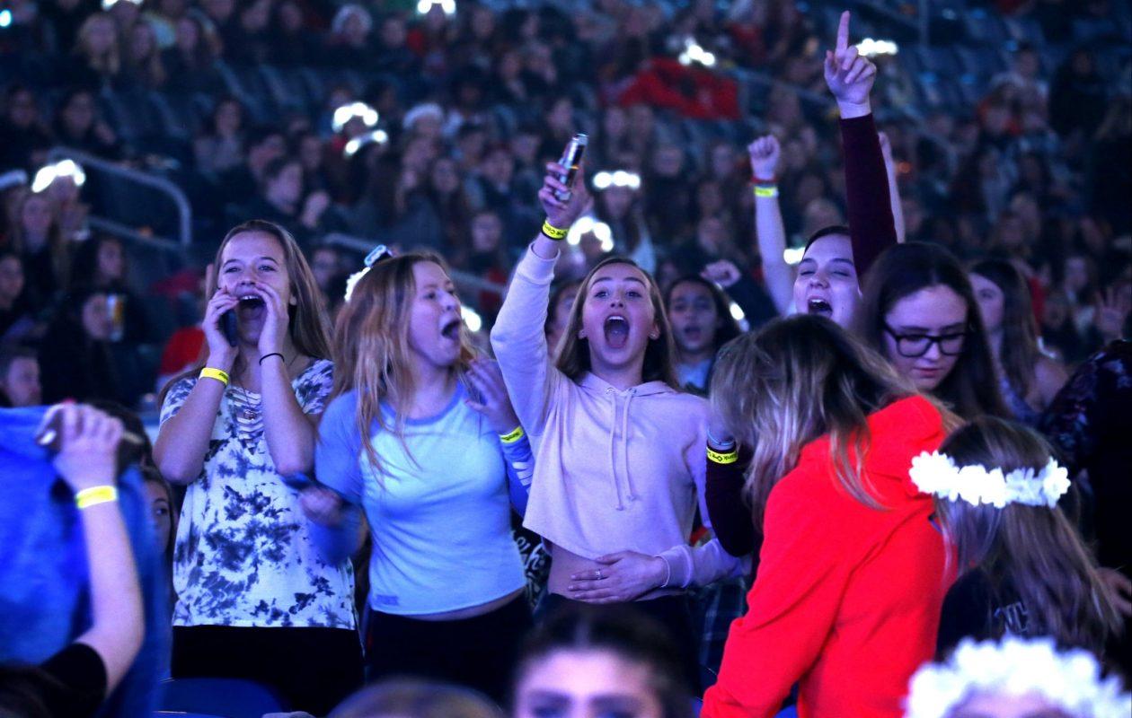Fans scream and sing at Kissmas Bash 2017 on Saturday, Dec. 9, 2017, in KeyBank Center. (Robert Kirkham/Buffalo News)
