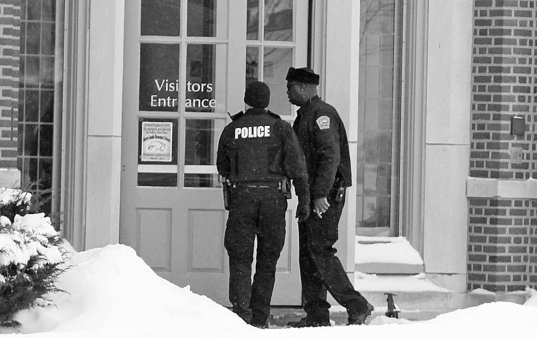 This is the scene during the lockdown at the Harvey Austin School on Sycamore Street in Buffalo,NY on Thursday, Feb. 6, 2014.  (James P. McCoy/ Buffalo News)