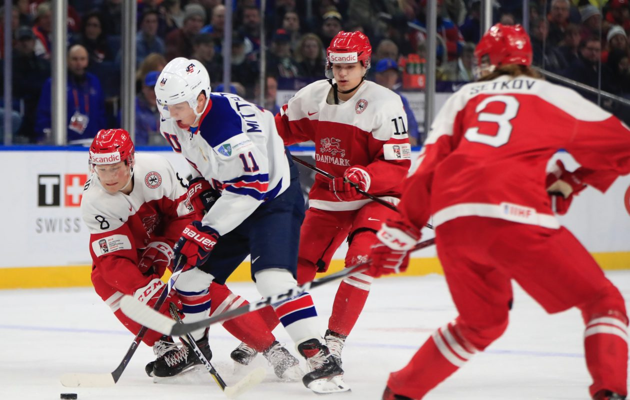 Casey Mittelstadt had two goals for the U.S. in their opening win over Denmark. (Harry Scull Jr./Buffalo News)