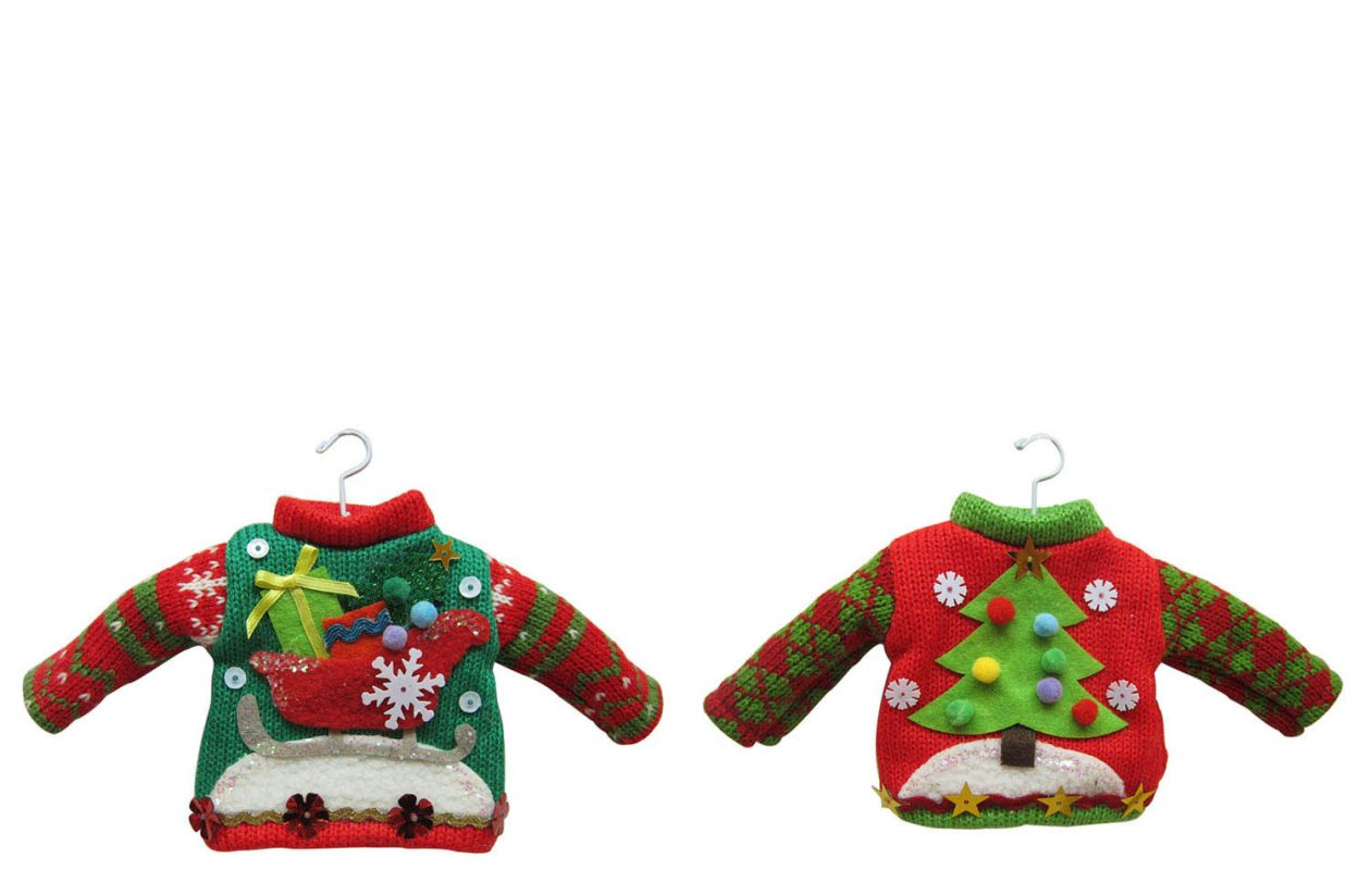 Ugly Christmas sweater-themed recipes and merchandise, including ornaments, above, can add to the festivities.  (Photo courtesy Kohl's')