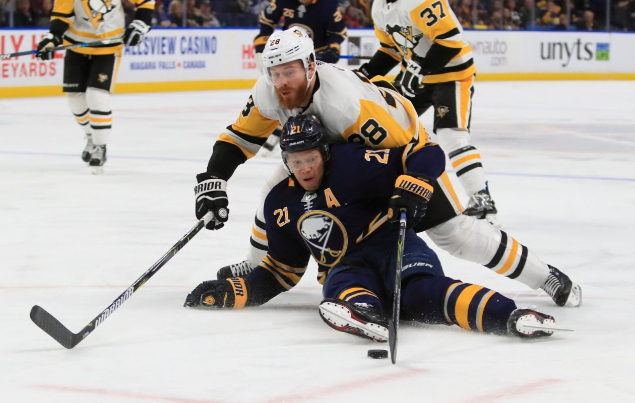 Kyle Okposo and the Sabres are finding their motivation for final 38 games. (Harry Scull Jr./File Photo)
