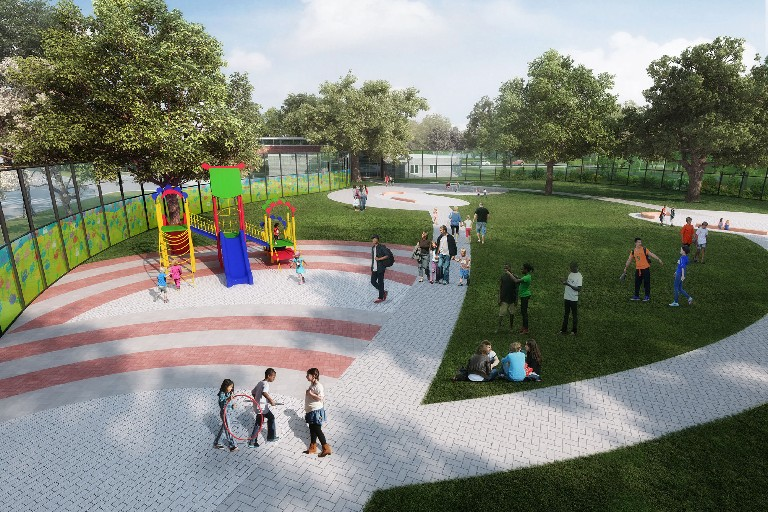 Sketch shows the outdoor play area envisioned for the new children's unit at the Buffalo Psychiatric Center.