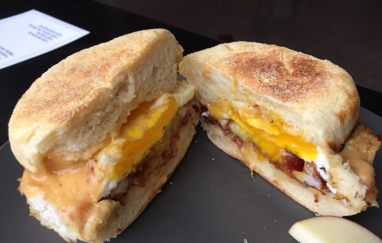 Public Espresso's breakfast sandwich comes on a housemade English muffin. (Andrew Galarneau/Buffalo News)