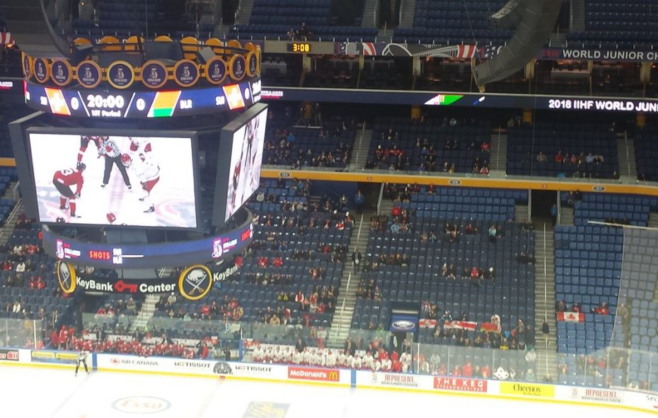 There weren't many fans on hand for the first of two preliminary round games at KeyBank Center during Day 2 of the World Junior Championship.