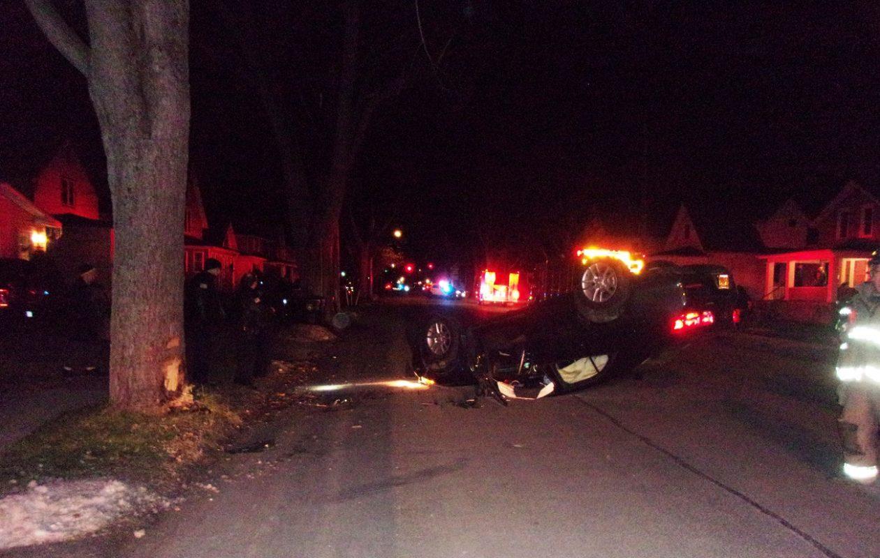 A City of Tonawanda man who crashed into a tree Thursday morning was charged with driving while intoxicated. (Photo courtesy City of Tonawanda Police)