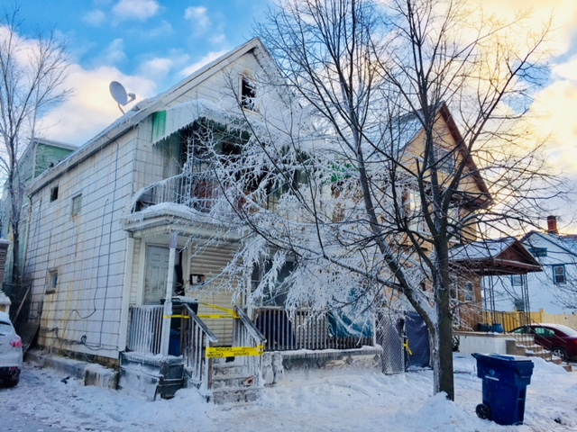 The icy scene outside 51 Winter St., where a fire broke out about 2 a.m. Thursday, Dec. 28, 2017. (Robert Kirkham/Buffalo News)