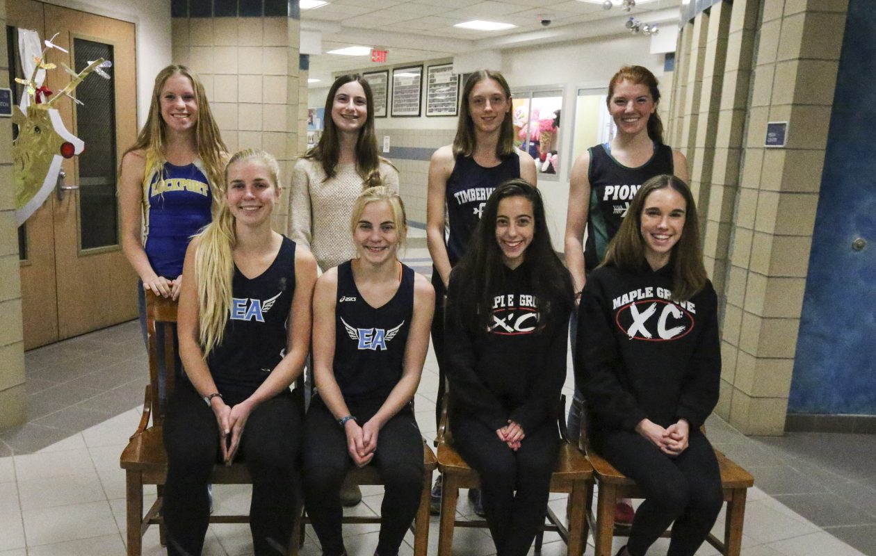 Members of the All-Western New York Boys Cross Country. Front row (from left): Molly McLaughlin (East Aurora), Megan McLaughlin (East Aurora), Christina Peppy (Maple Grove) and Ava Crist (Maple Grove). Standing (from left): Sydney Nowicki (Lockport), Kylee Odell (Clymer/Sherman/Panama), Abby Gostomski, (Cattaraugus/Little Valley) and Riley Jones (Pioneer/Holland).  (James P. McCoy/Buffalo News)