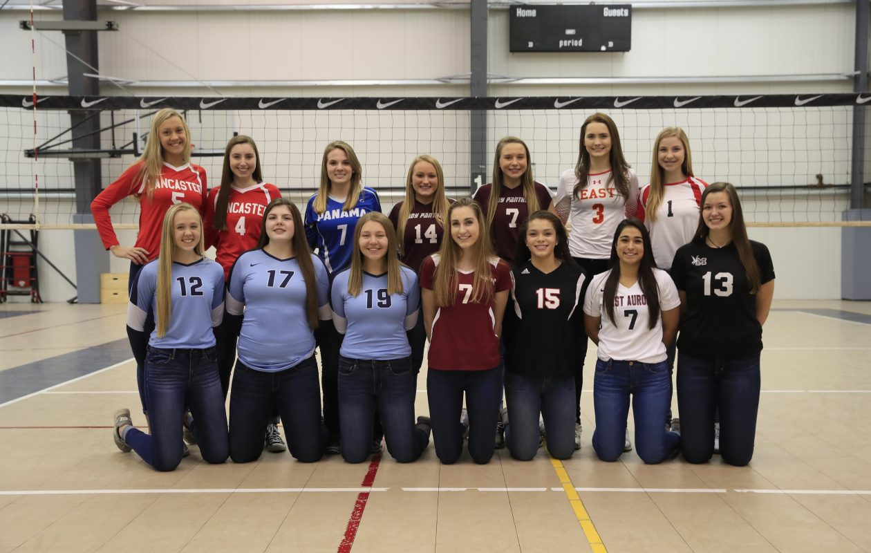 The 2017 Coaches All-Western New York girls volleyball team. Front row: Summer Slade (St. Mary's), Hannah Mulhern (St. Mary's), Jillian Vitale (St. Mary's), Micaela Ryan (Sacred Heart), Jaide Cummings (Clarence), Olivia Alessi (East Aurora), Julia Carter (Maryvale). Back Row: Julia Kurowski (Lancaster), Katie Becht (Lancaster), Madalyn Bowen (Panama), Haley Unverdorben (Portville), Beth Miller (Portville), Rachel Steffan (Williamsville East) and Jenna Sonnenberg (Niagara Wheatfield). (Harry Scull Jr./ Buffalo News)