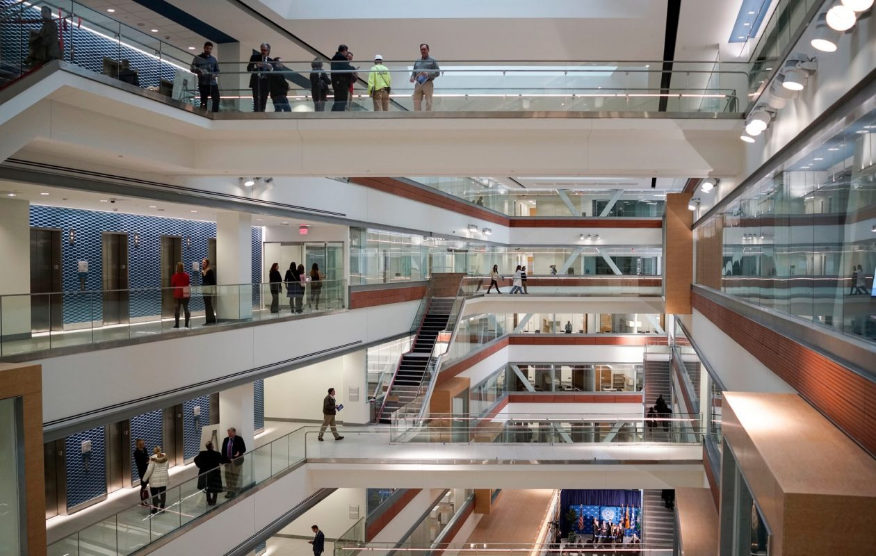 The atrium of the new University at Buffalo Jacobs School of Medicine and Biomedical Sciences. (Derek Gee/Buffalo News)