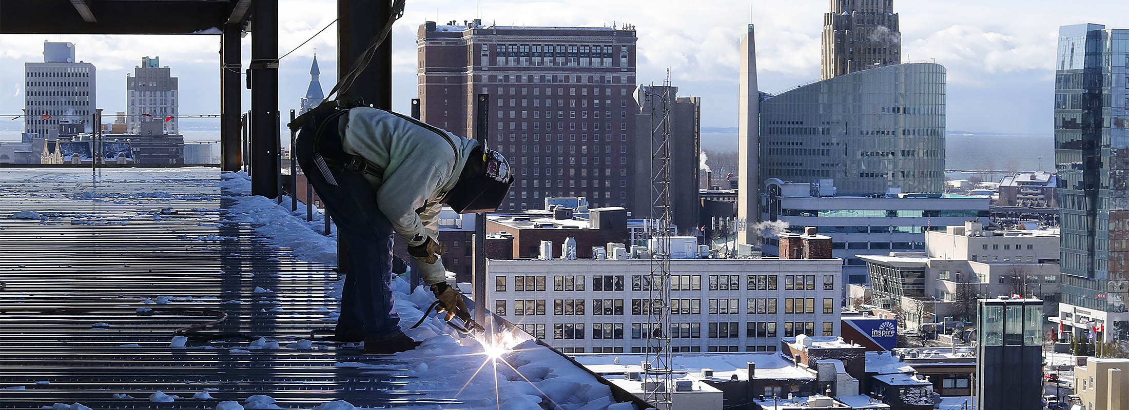Construction continues on 500 Pearl St., a 12-story mixed-use building. (Derek Gee/Buffalo News)