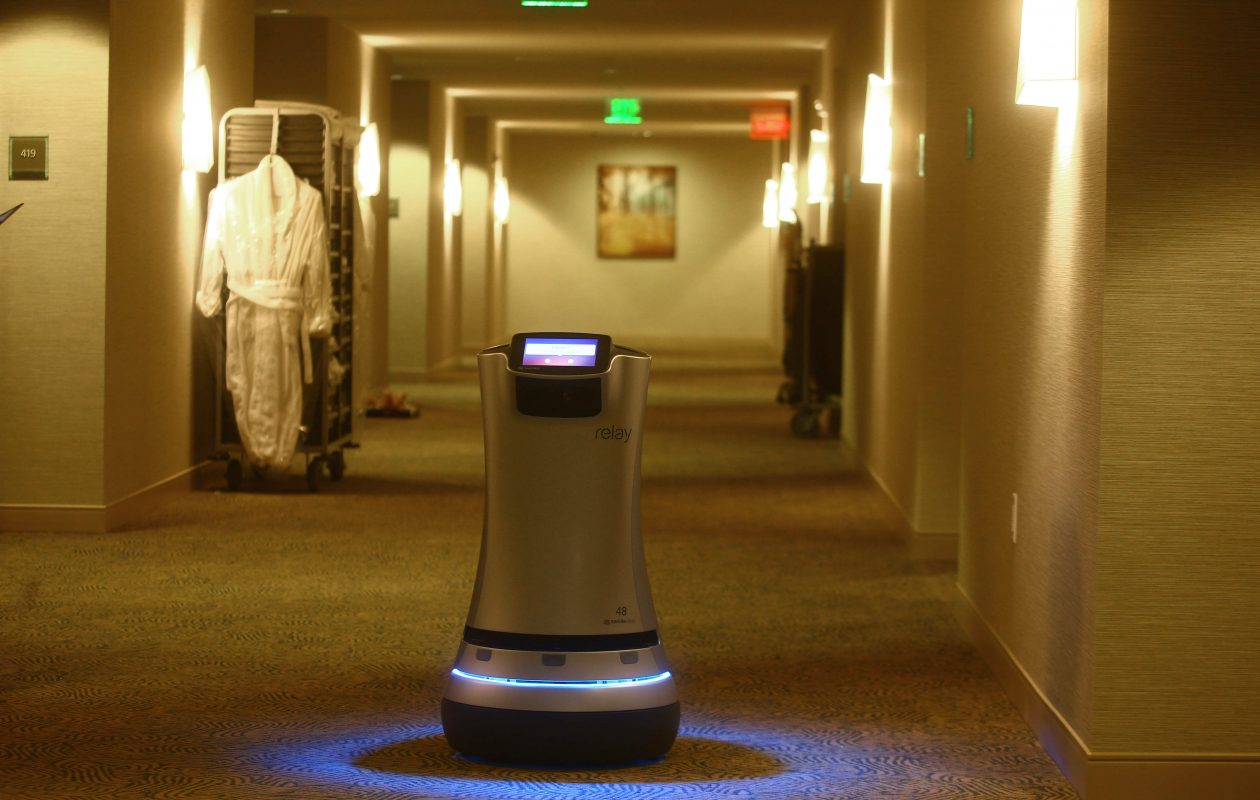 'Chip,' the robot butler, has been delivering towels, toothpaste, candy, cocktails and newspapers to hotel guests at the Westin Buffalo on Delaware Avenue since March. So why not invent a robot to help smokers quit?  (John Hickey/Buffalo News file photo)