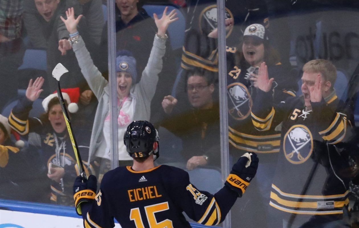 There's been no shortage of celebrations for Jack Eichel, who leads the NHL in goals and points since Dec. 15. (James P. McCoy/News file photo)