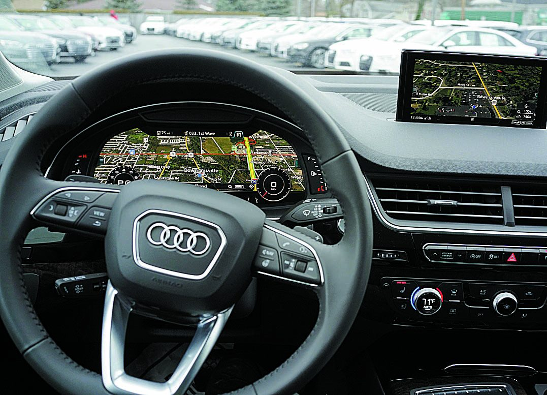 The Virtual Cockpit of the 2017 Audi Q7 at Schmitt's Audi Volkswagen in Bowmansville features a GPS map display that fills the dash console making it easier to see the map without taking your eyes off the road. (Derek Gee/Buffalo News)
