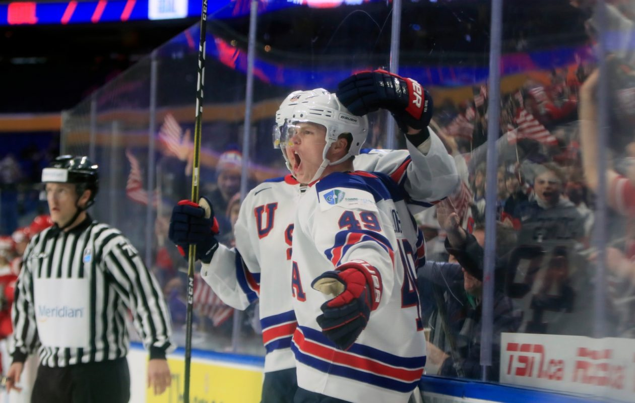 USA's Max Jones celebrates his goal against Denmark during first period action at the KeyBank Center on Tuesday, Dec. 26, 2017. (Harry Scull Jr./ Buffalo News)