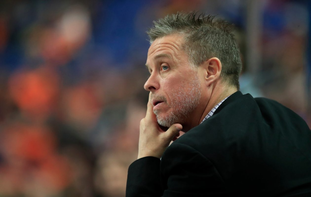 Buffalo Bandits coach Troy Cording against the Calgary Roughnecks during first half action at the KeyBank Center on Saturday, Jan. 6, 2018. (Harry Scull Jr./Buffalo News)