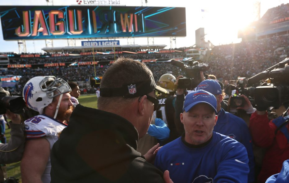 Buffalo Bills head coach Sean McDermott and Jacksonville Jaguars head coach Doug Marrone shake hands at the end at EverBank Field in Jacksonville, Fla., on Sunday, Jan. 7, 2018. (James P. McCoy/Buffalo News)