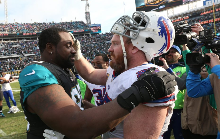 Old friends Marcell Dareus, left, and Kyle Williams will be on opposite sidelines Sunday. (James P. McCoy/Buffalo News)