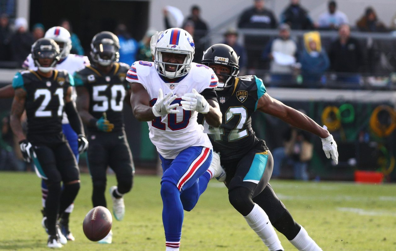 Bills receiver Deonte Thompson fails to make a catch in the fourth quarter of Sunday's loss to the Jacksonville Jaguars. (James P. McCoy/Buffalo News)