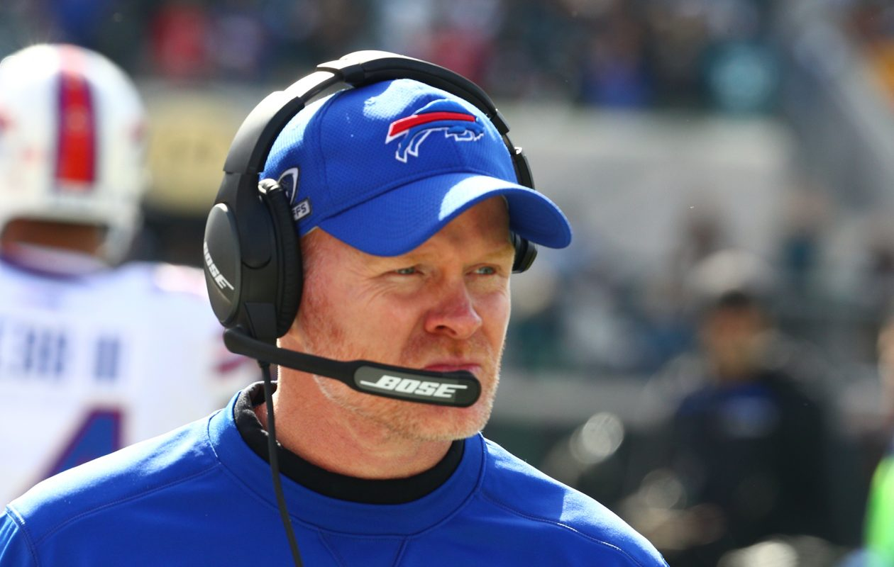 Although the Bills are expected to draft a quarterback next month, coach Sean McDermott likes the team's current situation at the position. (James P. McCoy/News file photo)