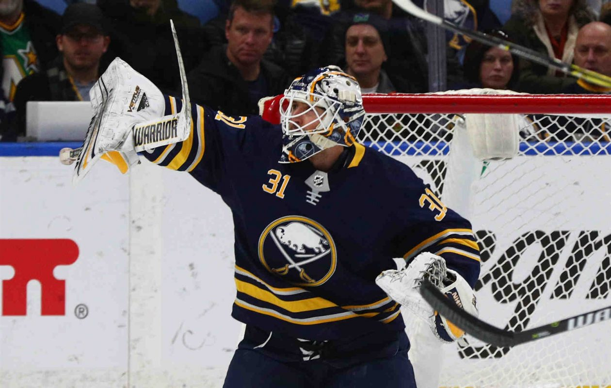After two years of success, Sabres goaltender Chad Johnson has had little this season. (James P. McCoy/Buffalo News)