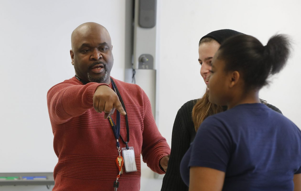 Dennis Wilson works with a theater class at Niagara Falls High School in Niagara Falls on Tuesday, Jan. 16, 2018.   (Mark Mulville/Buffalo News)