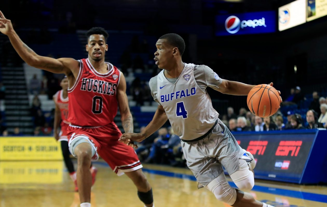 University at Buffalo guard Davonta Jordan drives around Northern Illinois Dante Thorpe during first half action at Alumni Arena on Tuesday, Jan. 16, 2018. (Harry Scull Jr./Buffalo News)