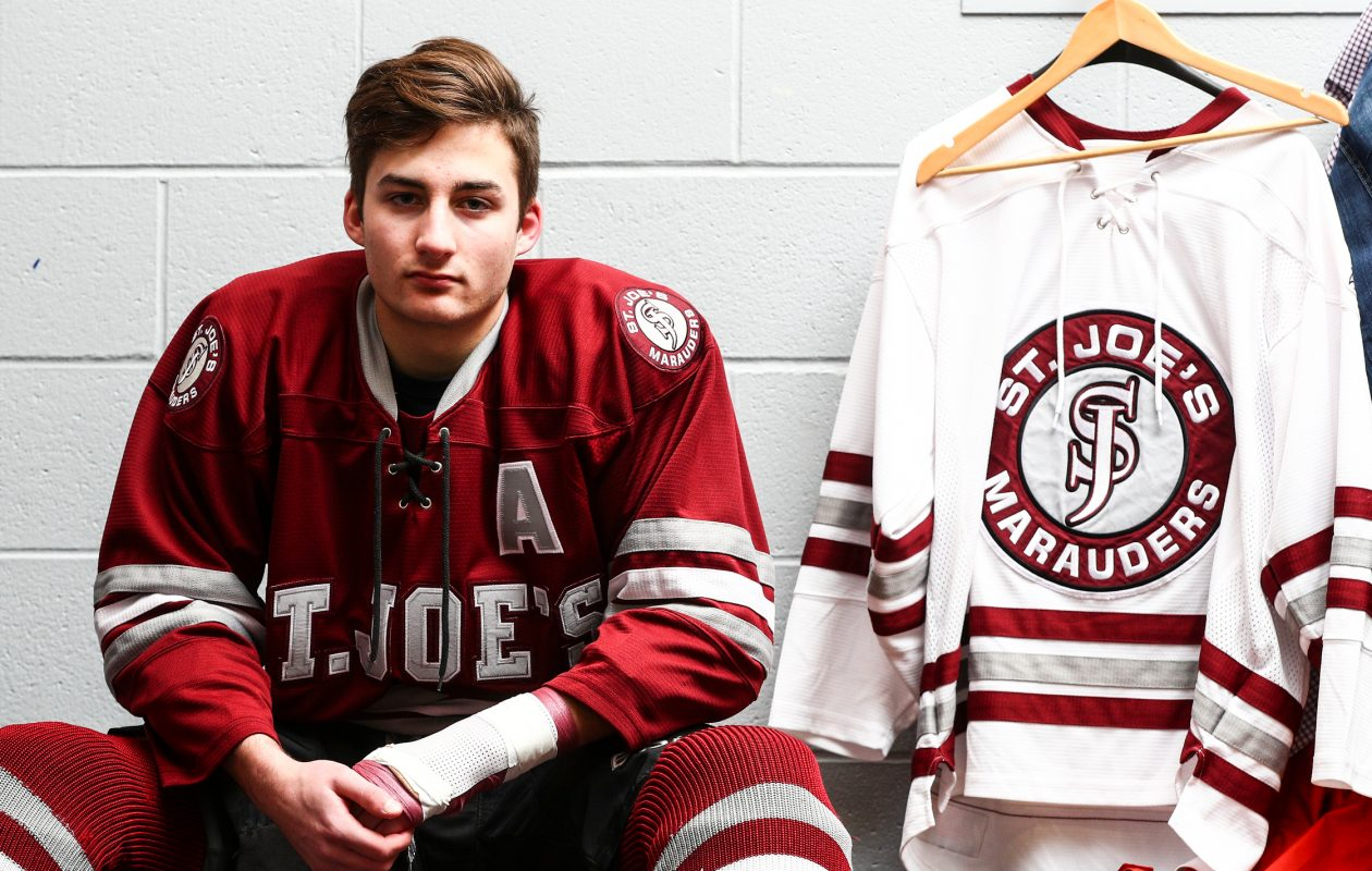 St. Joe's player Shane Scheeler is holding out hope that he can play this season after suffering tendon and artery injury in his left wrist. (James P. McCoy / Buffalo News)