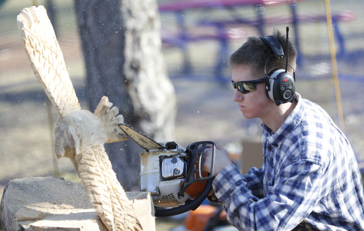 Jimmy Keller, 15, of Gowanda uses a chainsaw to carve a sculpture out of a pine log during Winterfest at Chestnut Ridge Park in Orchard Park Sunday. (Derek Gee/Buffalo News)