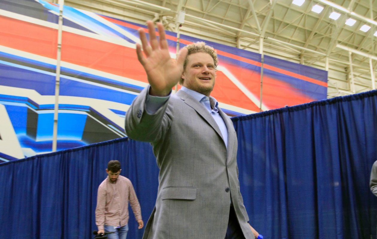Eric Wood acknowledges an onlooker at the ADPRO Sports Fieldhouse. (Harry Scull Jr./Buffalo News)