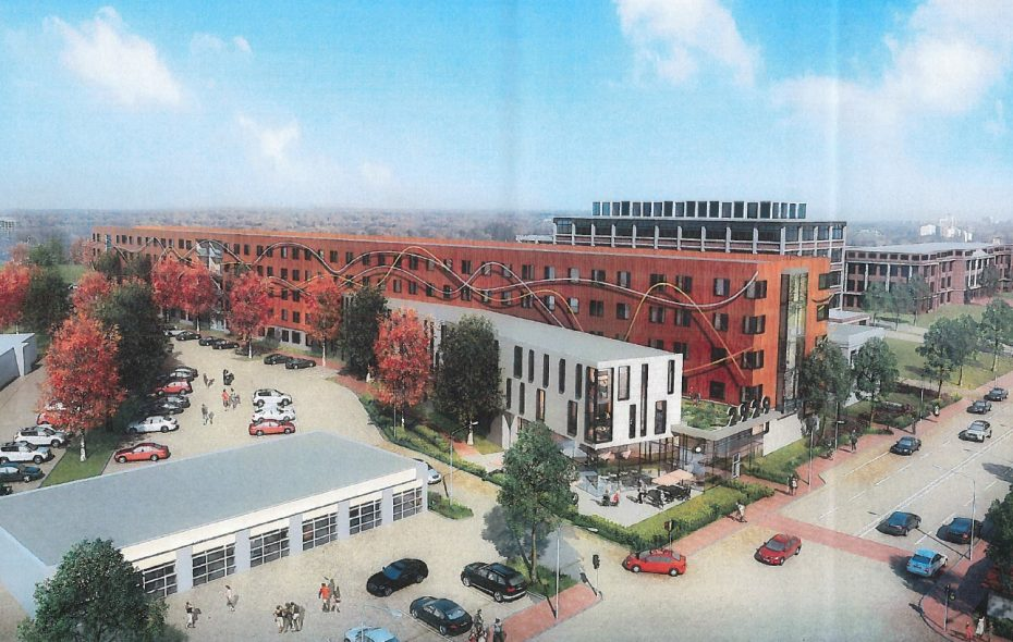 A rendering of the proposed student housing complex at 2929-2939 Main St.